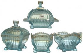 6: FOUR PIECE BLUE OPALESCENT PATTERN GLASS TABLE SET