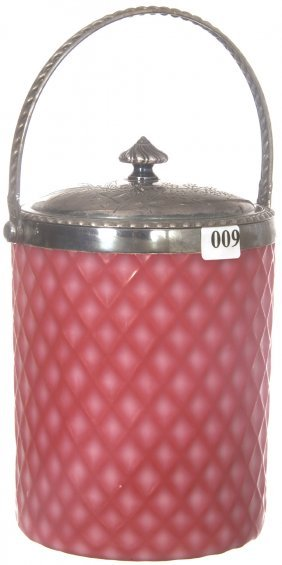 "9: 8"" PINK SATIN DIAMOND QUILTED CUT VELVET BISCUIT JAR"