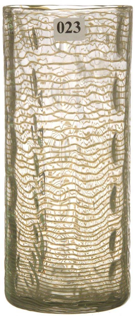 """23: 8 3/4"""" SIGNED LIBBEY ART GLASS CYLINDRICAL VASE"""
