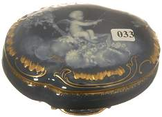 """33: 2 3/4"""" X 6"""" MARKED LIMOGES OVAL COVERED BOX"""