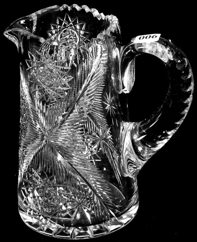 "6: 7 1/2"" AMERICAN BRILLIANT CUT GLASS HANDLED JUG"