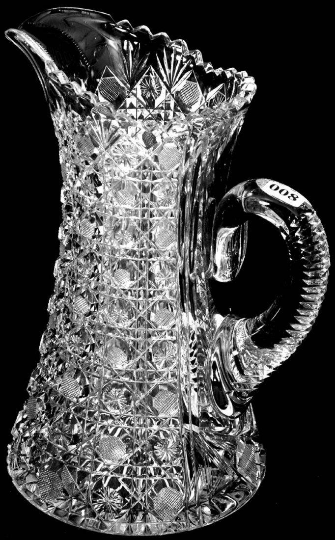 "8: 10 3/4"" AMERICAN BRILLIANT CUT GLASS WATER PITCHER"