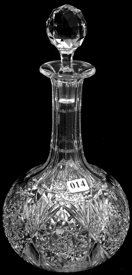 """14: 11"""" AMERICAN BRILLIANT CUT GLASS DECANTER"""