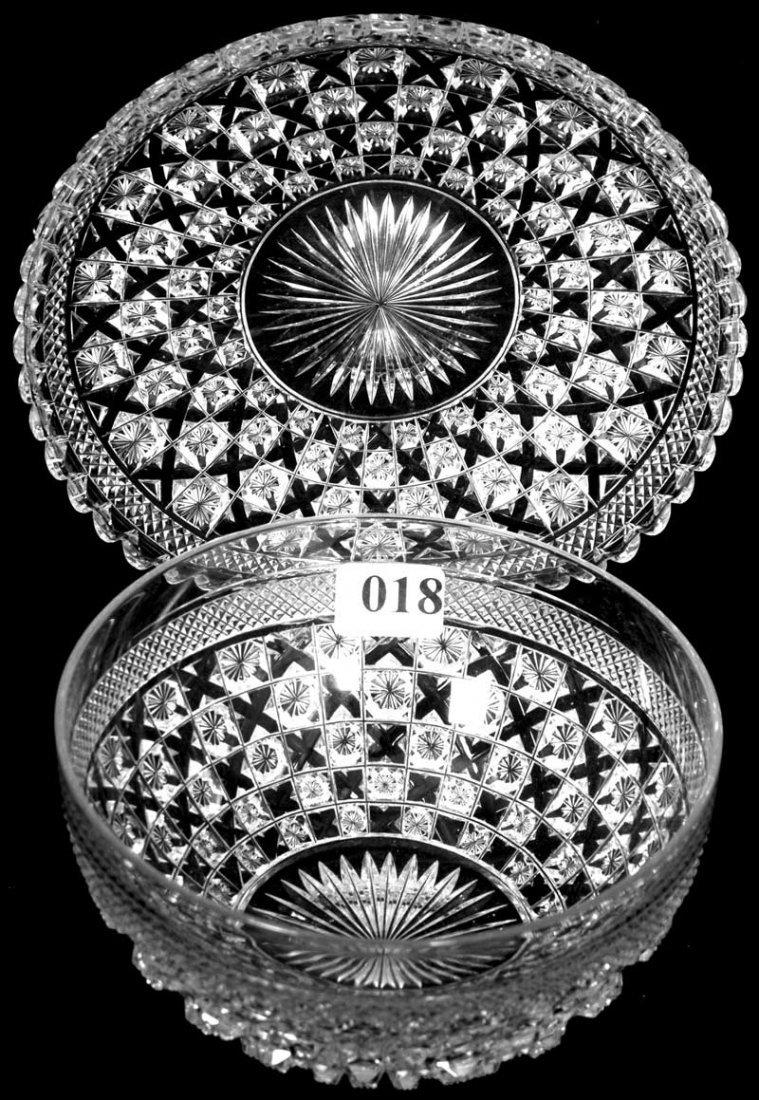 18: AMERICAN BRILLIANT CUT GLASS FINGER BOWL AND MATCHI