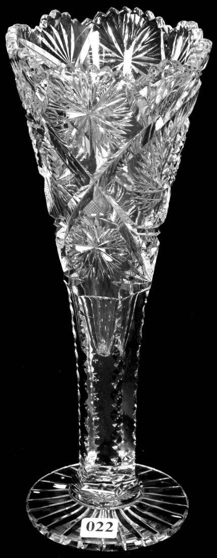 "22: 12 1/4"" AMERICAN BRILLIANT CUT GLASS TRUMPET VASE"