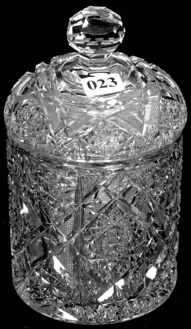 "23: 7"" AMERICAN BRILLIANT CUT GLASS COVERED JAR"