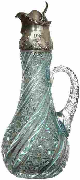 "105: MAGNIFICENT! 16"" AMERICAN BRILLIANT CUT GLASS TURQ"