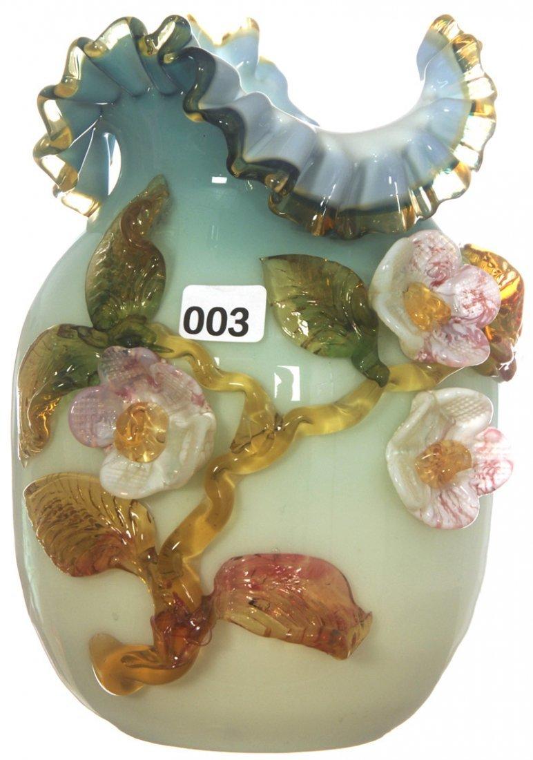 """3: 7 1/2"""" STEVENS & WILLIAMS BLUE CASED ART GLASS VASE"""