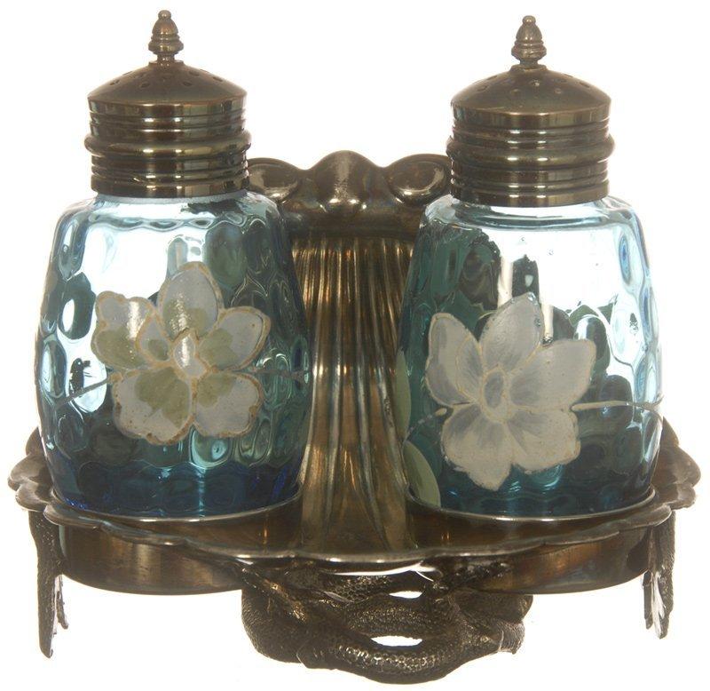 """16: 4 1/2"""" X 5"""" BLUE ART GLASS COIN SPOT SALT & PEPPER"""