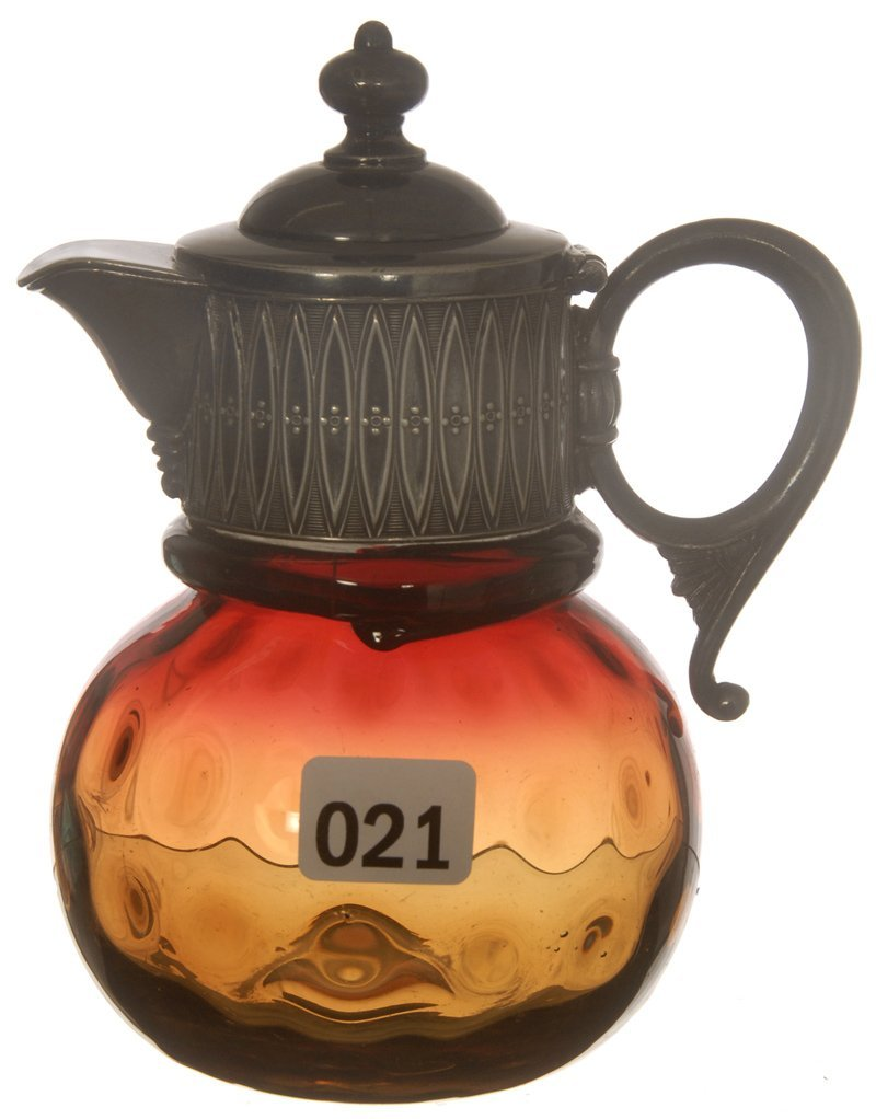 """21: 5 1/2"""" AMBERINA COIN SPOT ART GLASS SYRUP PITCHER W"""