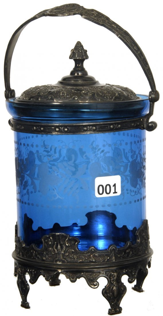 "8"" BLUE ART GLASS BISCUIT JAR WITH EMBOSSED SILVER BASE"