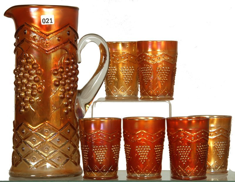 SEVEN PIECE CARNIVAL GLASS WATER SET