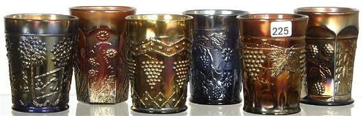 6 MISCELLANEOUS CARNIVAL GLASS TUMBLERS