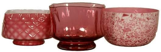 (3) ART GLASS FINGER BOWLS