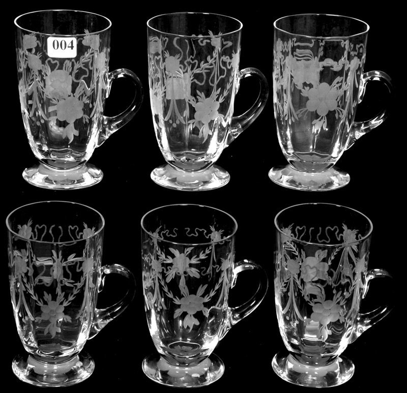 """(6) 5"""" SIGNED TUTHILL AMERICAN BRILLIANT CUT GLASS FOOT"""