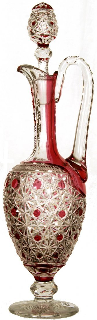 """14 1/2"""" CRANBERRY CUT TO CLEAR PEDESTAL HANDLED DECANTE"""