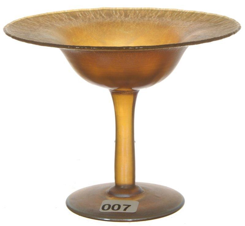 """4 1/4"""" X 5 1/2"""" SIGNED L. C. T. FAVRILE #1701 GOLD IRID"""
