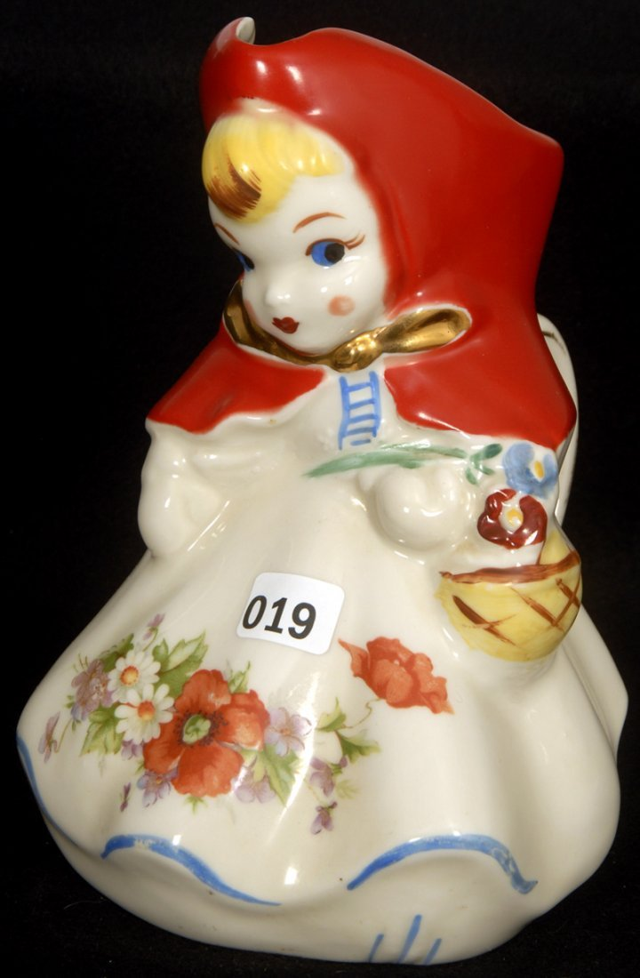 """8"""" HULL POTTERY FIGURAL LITTLE RED RIDING HOOD STANDING"""
