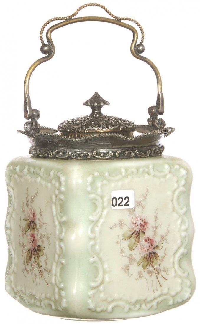 """7 3/4"""" UNMARKED WAVECREST SQUARE SHAPED BISCUIT JAR"""