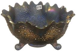 5 14 X 10 CARNIVAL GLASS THREE FOOTED FRUIT BOWL
