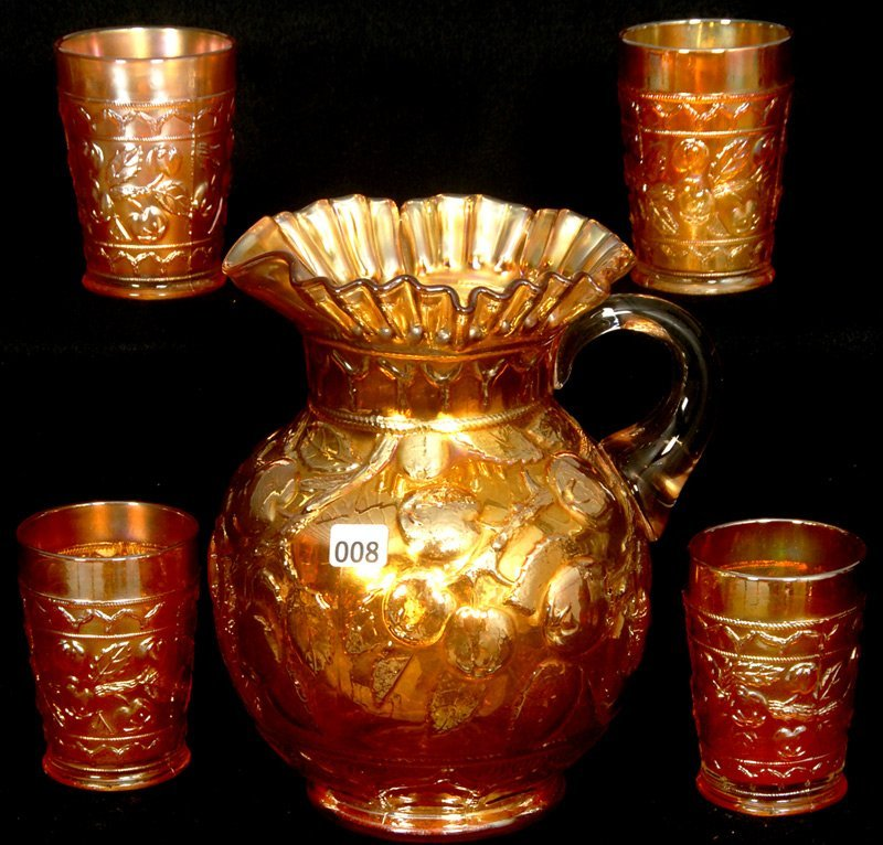 "9"" CARNIVAL GLASS WATER PITCHER AND FIVE MATCHING TUMBL"