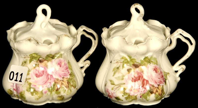 PAIR UNMARKED PRUSSIA MORNING GLORY MOLD MUSTARD JARS