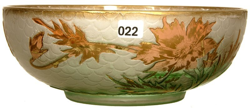 "3 3/4"" X 9 3/4"" UNMARKED MT JOYE STYLE CAMEO CUT BOWL"