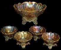 FIVE PIECE CARNIVAL GLASS BERRY SET