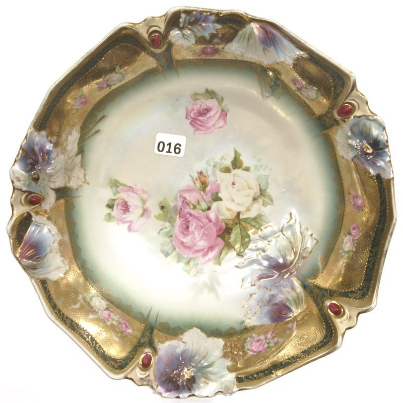 """UNIQUE 10 3/4"""" UNMARKED PRUSSIA CARNATION AND JEWEL MOL"""