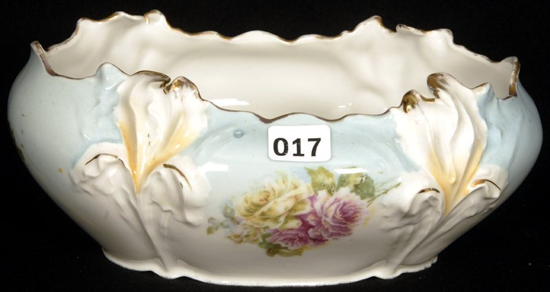"""3 1/4"""" X 8"""" UNMARKED PRUSSIA IRIS MOLD OVAL SHAPE BOWL"""