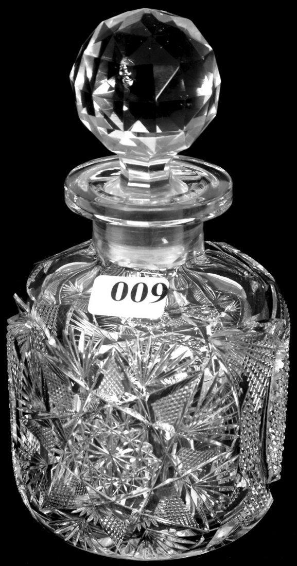 "6 1/2"" AMERICAN BRILLIANT CUT GLASS COLOGNE BOTTLE"