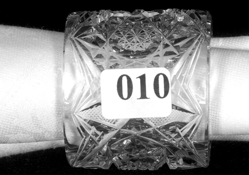 "2"" DIAMETER, AMERICAN BRILLIANT CUT GLASS NAPKIN RING H"