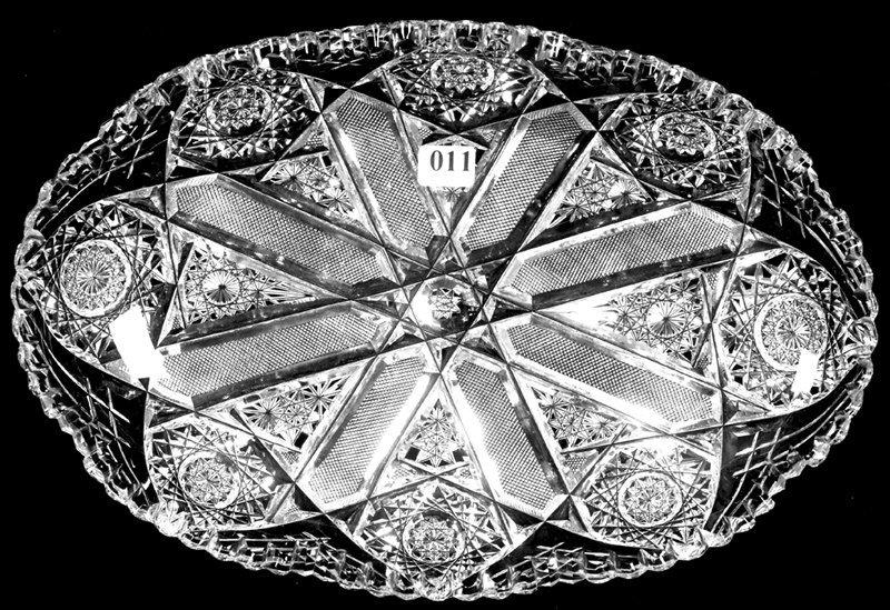 "13"" X 9"" SIGNED J.HOARE, AMERICAN BRILLIANT CUT GLASS O"