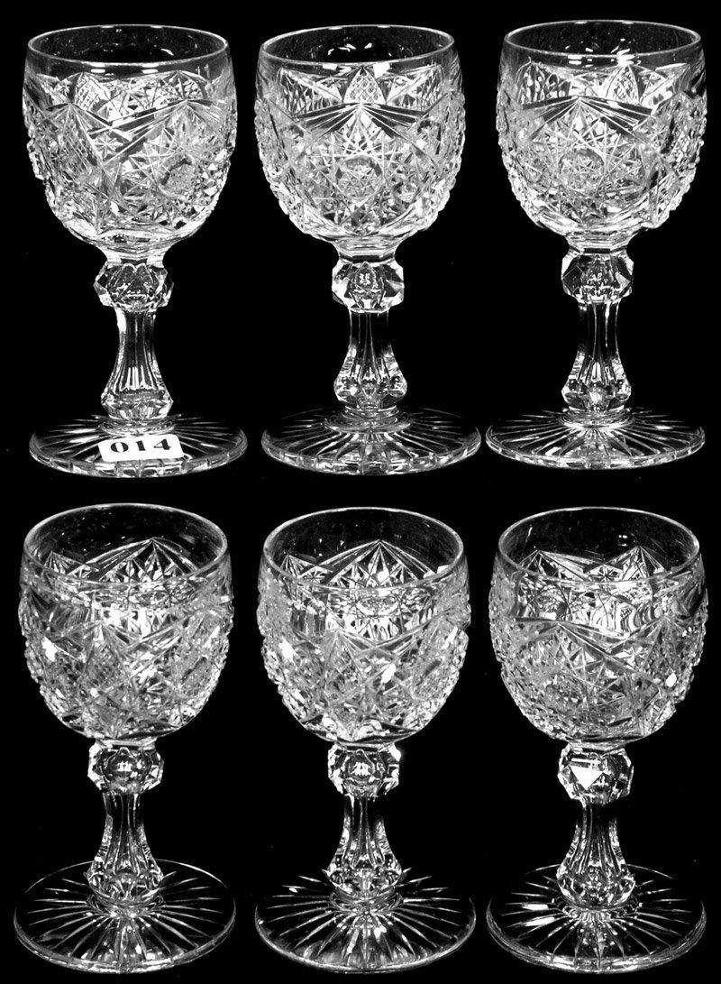 """(6) 4 1/2"""" AMERICAN BRILLIANT CUT GLASS WINE GLASSES"""