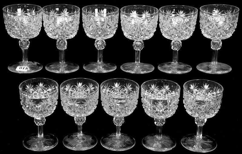 """(11) 4 1/2"""" AMERICAN BRILLIANT CUT GLASS WINE GLASSES"""