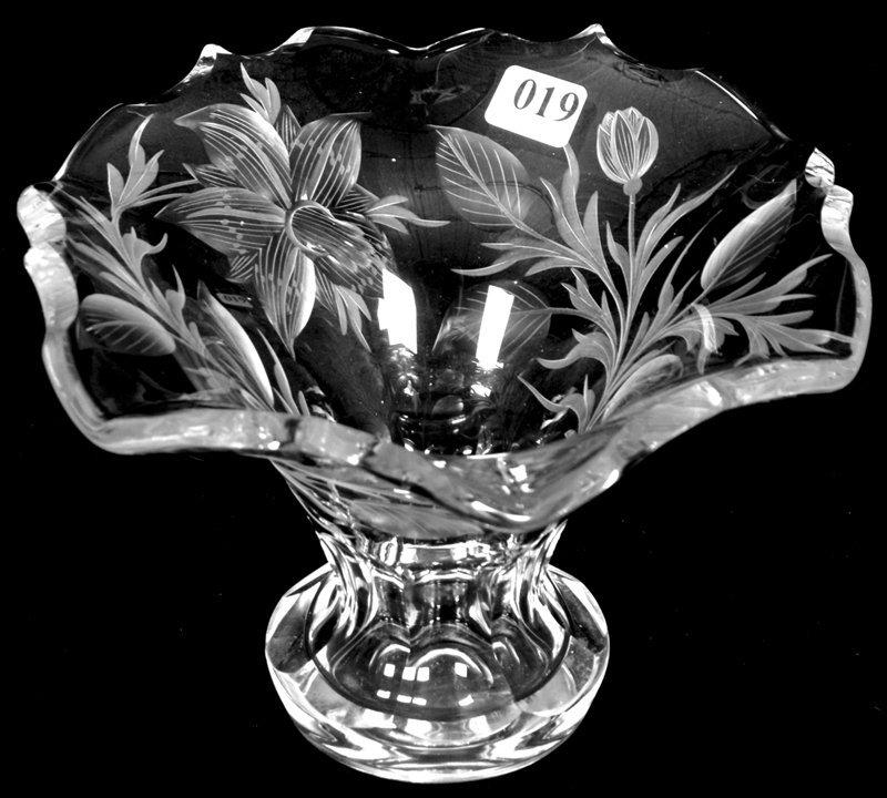 "5 1/4"" X 8"" SIGNED TUTHILL, AMERICAN BRILLIANT CUT GLAS"