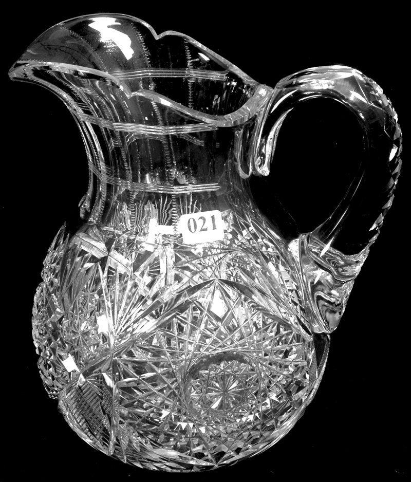 "9 1/2"" AMERICAN BRILLIANT CUT GLASS WATER PITCHER"