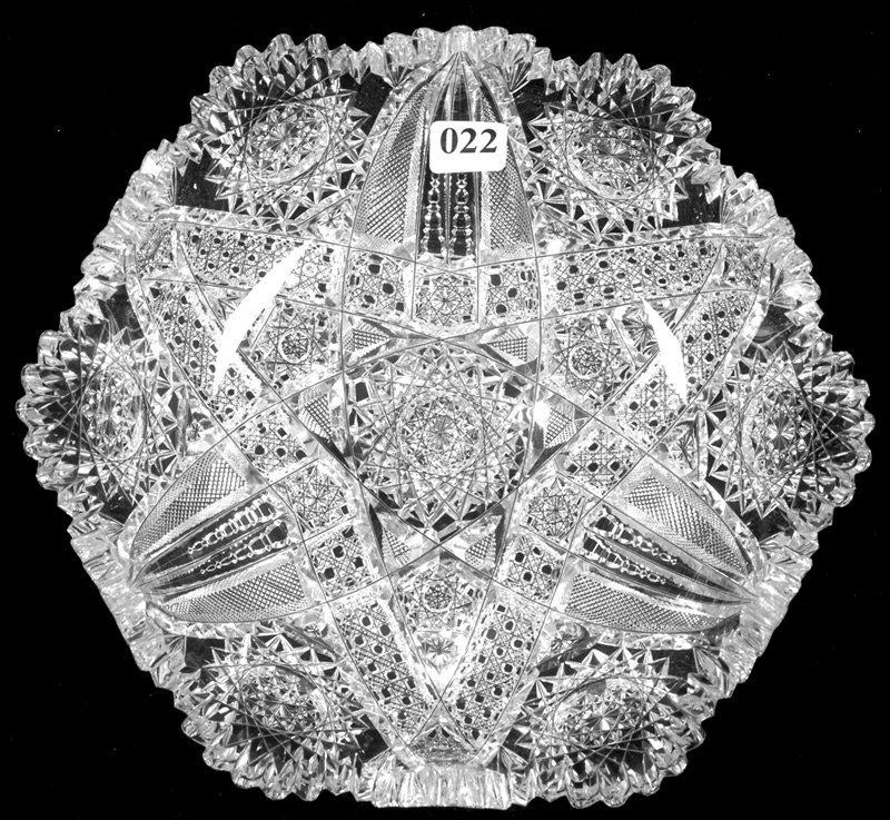 """2 1/2"""" X 9"""" SIGNED J.HOARE, AMERICAN BRILLIANT CUT GLAS"""