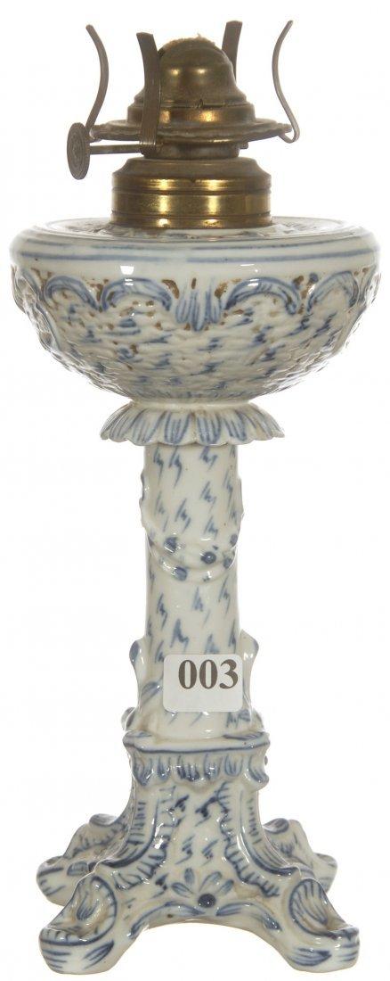 """10"""" UNMARKED DRESDEN BLUE AND WHITE KEROSENE LAMP"""