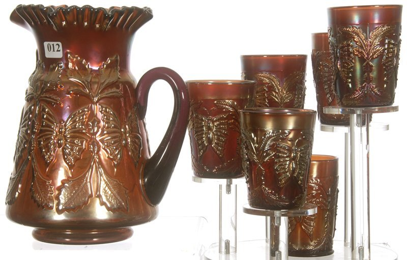 """9 1/2"""" CARNIVAL GLASS BUTTERFLY AND FERN SEVEN PIECE"""
