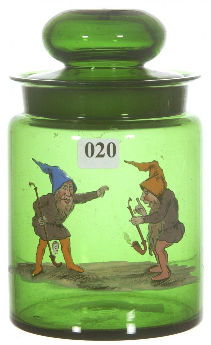 "7"" GREEN ART GLASS HUMIDOR"
