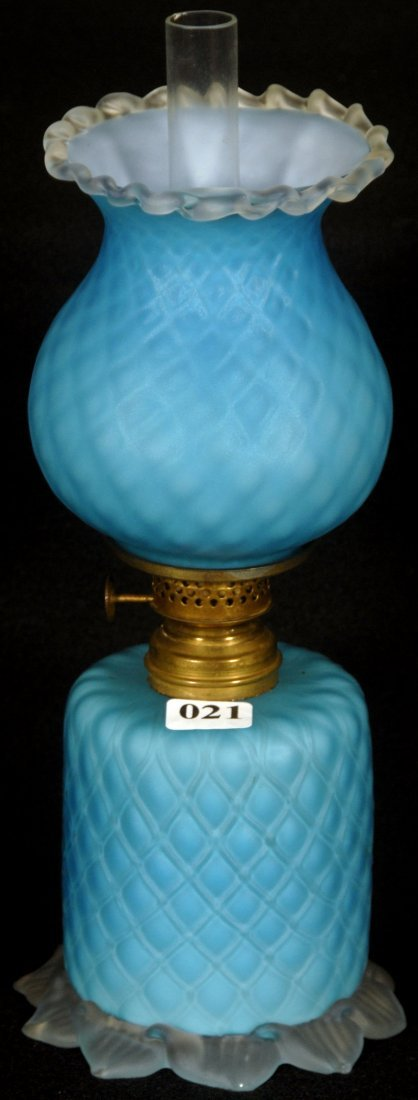 "9 1/2"" BLUE SATIN CUT VELVET ART GLASS MINIATURE"