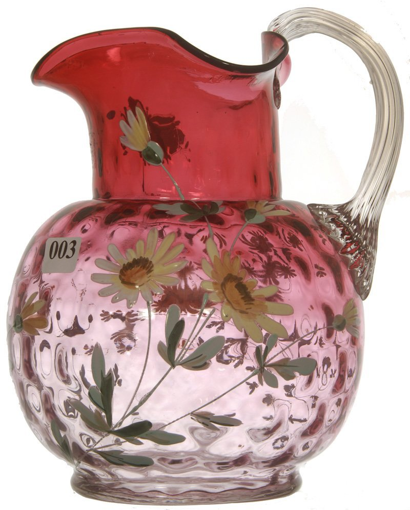 "8 1/2"" RUBINA ART GLASS INVERTED THUMBPRINT WATER PITCH"