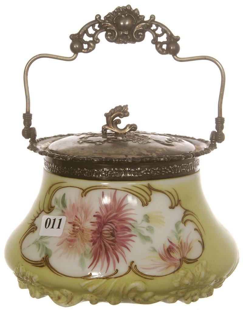 """5 1/2"""" MARKED MT WASHINGTON ART GLASS BISCUIT JAR"""