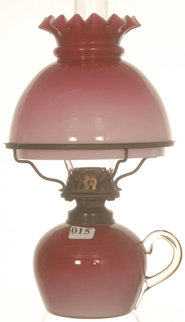 "10 3/4"" CASED ART GLASS PEACH BLOW KEROSENE LAMP"