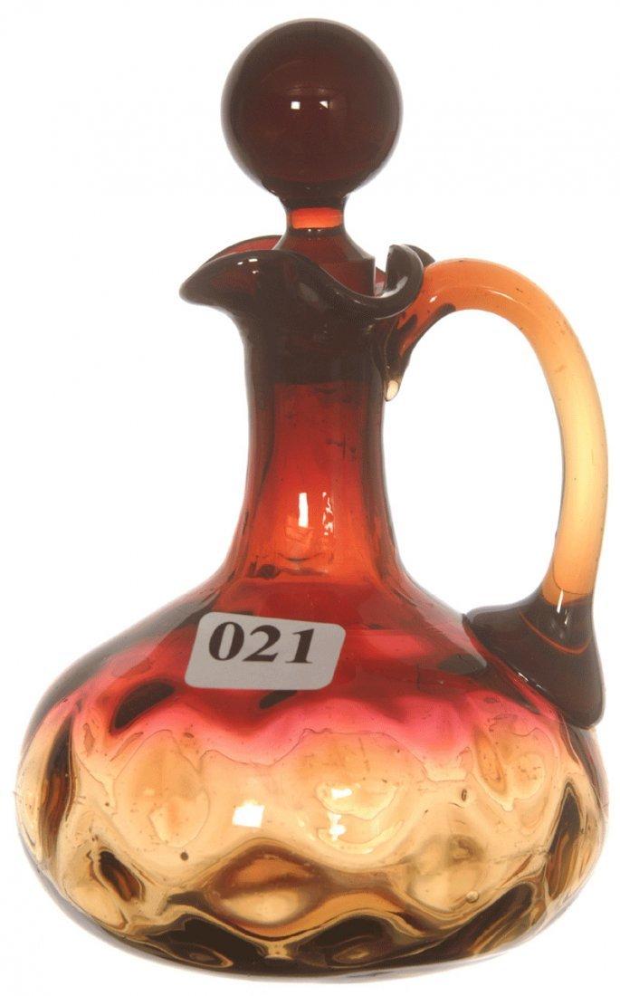 "5 3/4"" AMBERINA ART GLASS INVERTED THUMB PRINT CRUET"