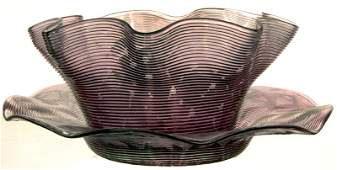 PINK CRANBERRY ART GLASS THREADED FINGER BOWL & UNDERPL