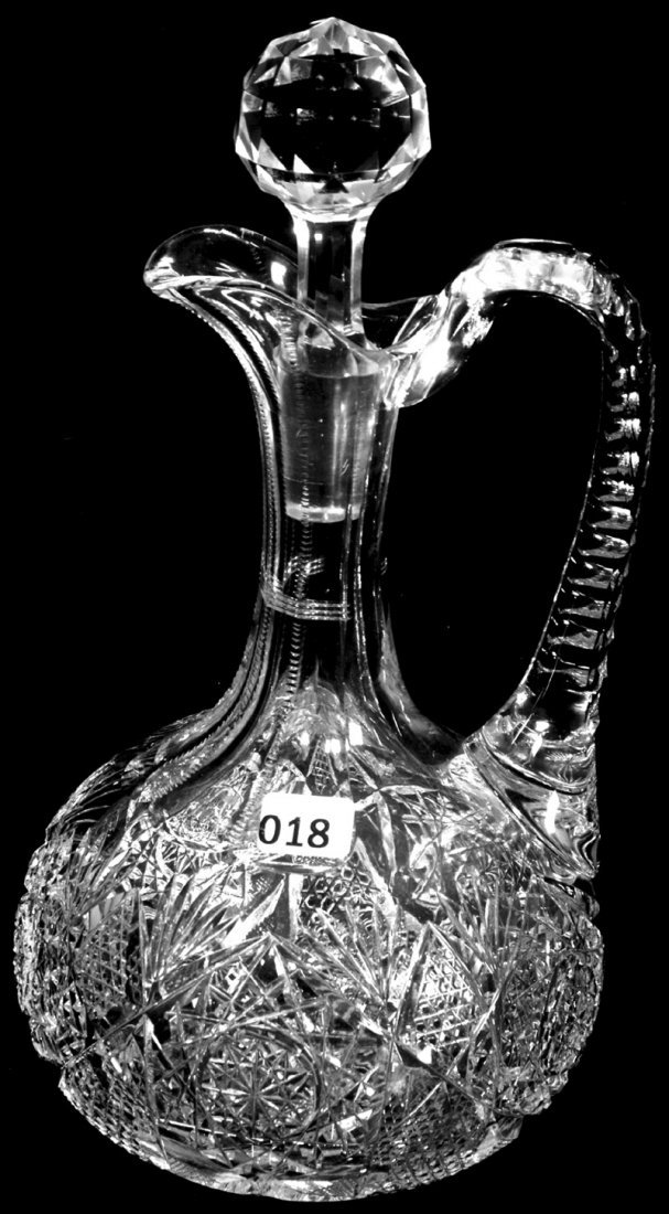 "11"" AMERICAN BRILLIANT CUT GLASS HANDLED DECANTER"