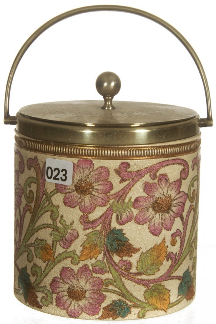 "6 1/4"" UNMARKED ENGLISH TAPESTRY BISCUIT JAR"