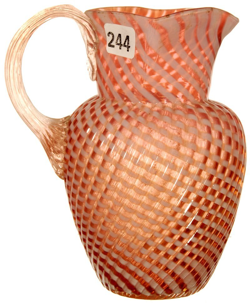 "6"" CRANBERRY OPALESCENT REVERSE SWIRL PITCHER"